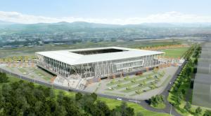 Die Beheizung von Rasen und Betriebsräumen des neuen SC Stadions erfolgt künftig mit industrieller Abwärme - gesteuert durch ein intelligentes Lastmanagement von Mondas (Visualisierung Stadion SC Freiburg: HPP Architekten / Köster)
